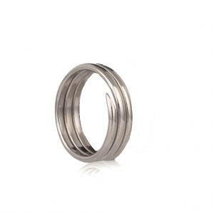 Three coil Antique silver charm ring