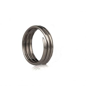 3 coil charm ring oxidised silver
