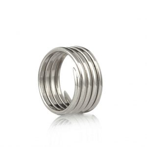 Labyrinth antique silver 5 coil charm ring
