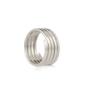 Diamond silver 5 coil charm ring