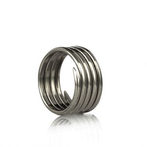 Labyrinth oxidised silver 5 coil charm ring