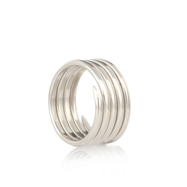 Silver 5 coil charm ring