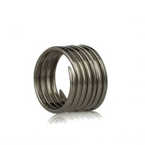 Oxidised silver 7 coil charm ring