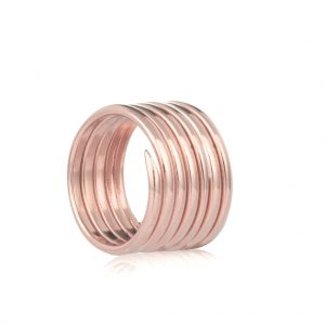 Rose gold coil charm ring