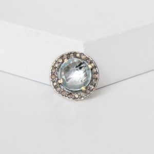 Blue Topaz Slider Ring Charm