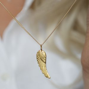 Gold Angel Wing Feather Necklace