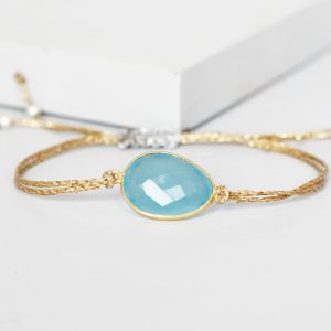 Gold Blue Chalcedony Friendship Bracelet