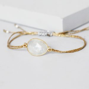 Gold Moonstone Gemstone Bracelet