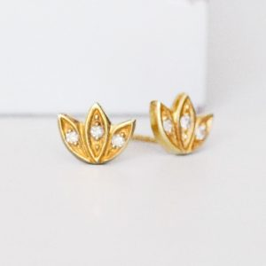 Gold Snowdrop Stud Earrings