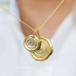 Gold Wax Seal Pendant Necklace