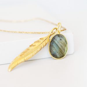 Labradorite And Feather Necklace