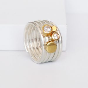 Pebble And Caviar Stacking Charm Ring