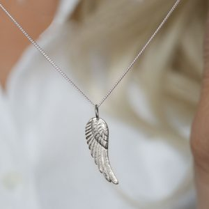 Sterling silver angel wing feather pendant
