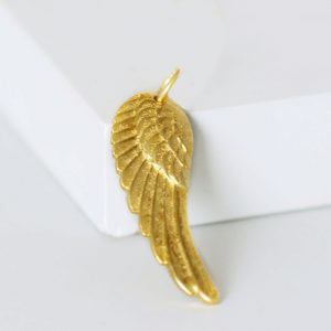 Angel wing gold pendant charm