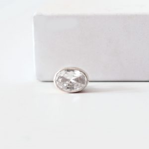 aura silver oval slider ring charm