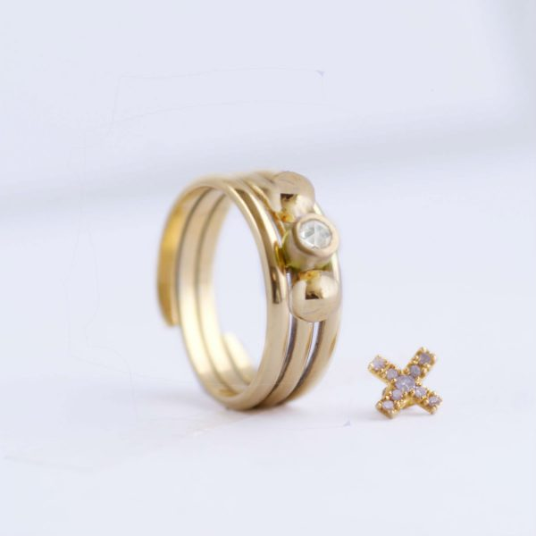 gold small pebble ring charm