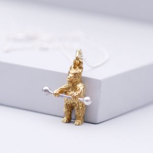 Teddy Bear Necklace Gold