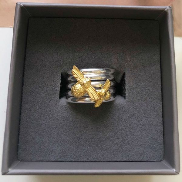 gold large bumblebee ring charm