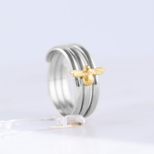 Tiny bee rings for women