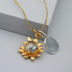 sunflower necklace gold