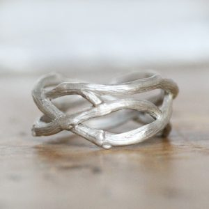 White gold twig ring