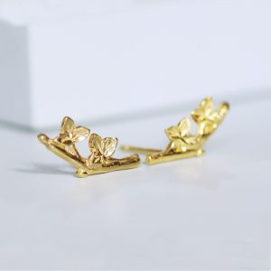 Gold Leaf Climber Earrings