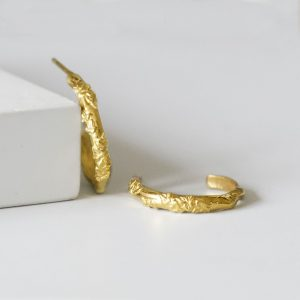 Gold And Leaf Hoop earrings
