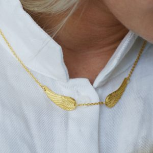 Double gold angel wing necklace
