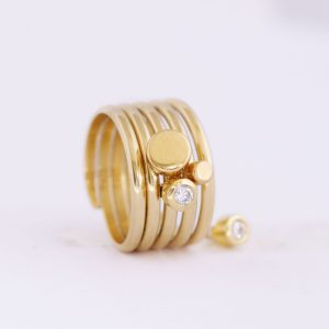 Small caviar gold slider ring charm