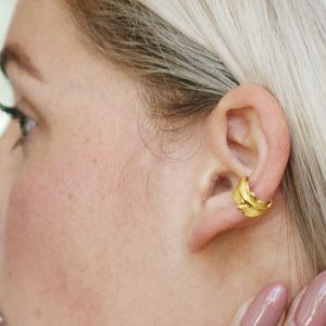 gold feather ear cuff
