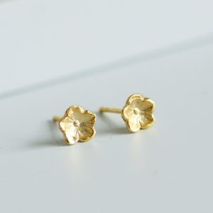 Gold forget me not flower stud earrings