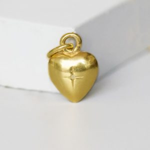 Gold solid heart pendant charm