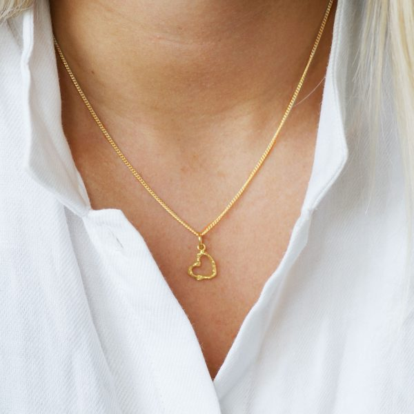 gold twig gold open heart necklace