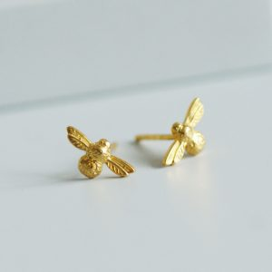 tiny gold bee stud earrings