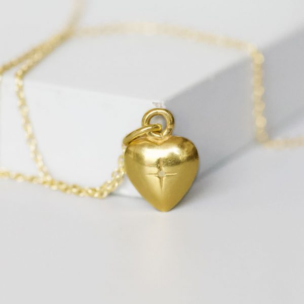 Solid Gold heart charm necklace