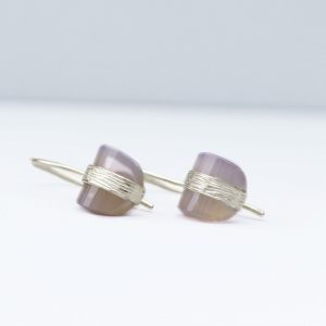 sterling silver grey chalcedony drop earrings