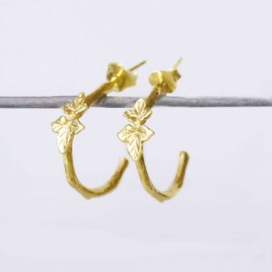Leaf Hoop Earrings Gold