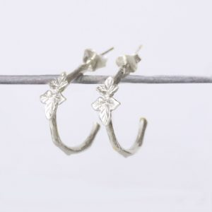 Silver Leaf Hoop Earrings