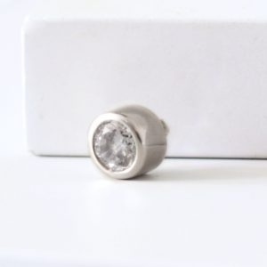 large sterling silver cubic zirconia ring charm