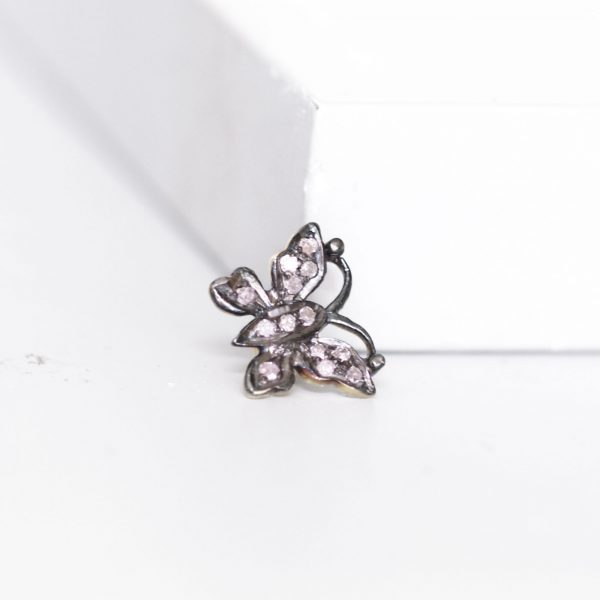 large diamond butterfly slider ring charm