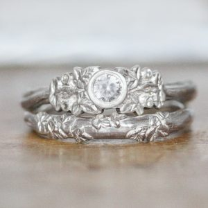 diamond ring with leaves