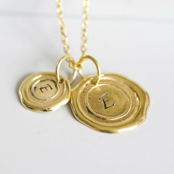 Gold Wax Seal initial necklace