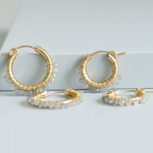 Gold Moonstone beaded hoop earrings