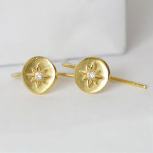 North star gold coin earrings