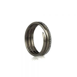 Three Coil Oxidised Silver Diamond Charm Ring