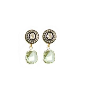 Diamond and green quartz earrings