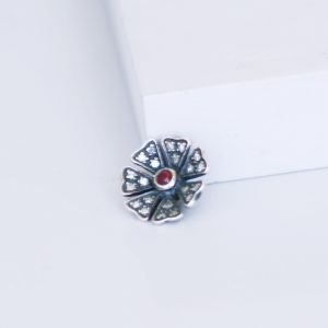 diamond and ruby poppy slider ring charm