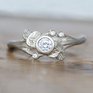 Diamond Vine Leaf Ring