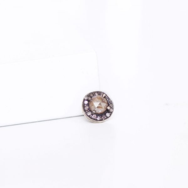 rose cut diamond slider ring charm