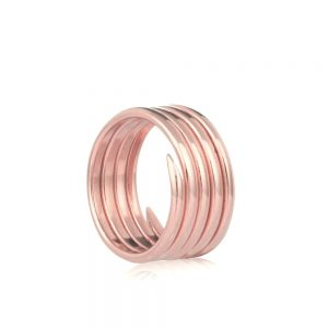 Labyrinth rose gold 5 coil charm ring